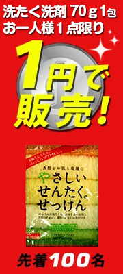洗濯洗剤70g1包 お一人様1点限り 1円で販売!
